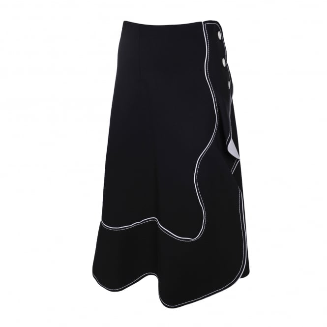 Sportmax Ali Black & White Wavy Skirt