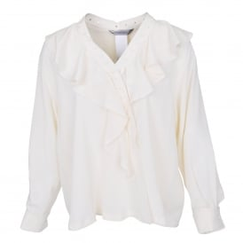 Angio Stud and Ruffle Silk Blouse