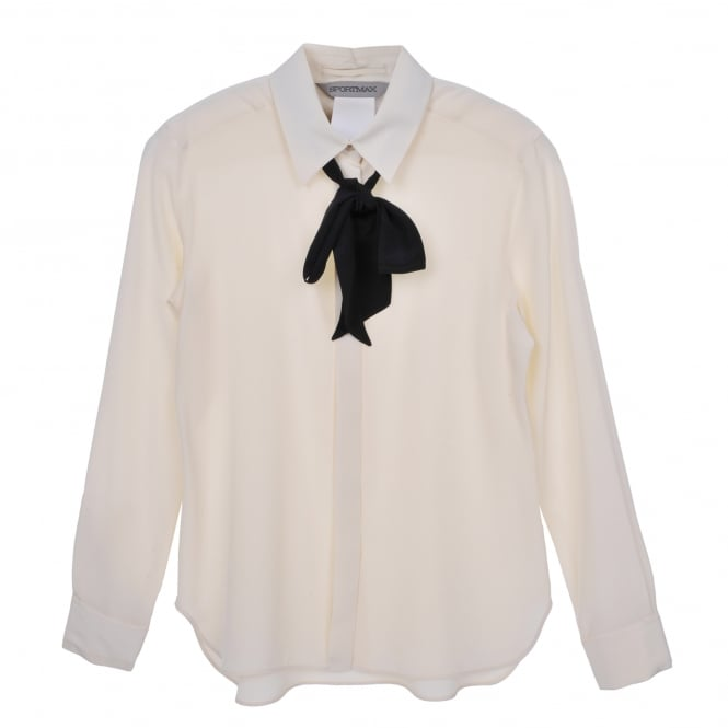 Sportmax Bona Ivory Shirt with Black Neck Tie