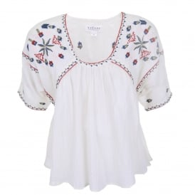 Adele Embroidered Crinkle Top