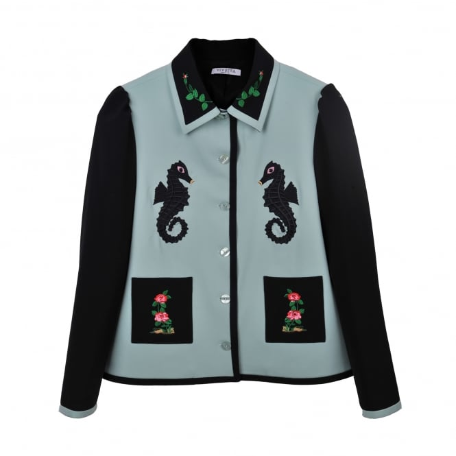 Vivetta Tokyo Black and Green Embroidered Jacket