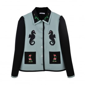 Tokyo Black and Green Embroidered Jacket