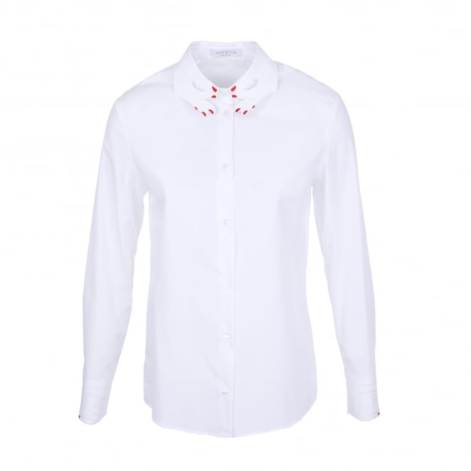 Vivetta Tortora White Shirt with Hands Collar